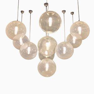 Lampade a sospensione vintage in vetro di Murano di Paolo Venini, set di 10
