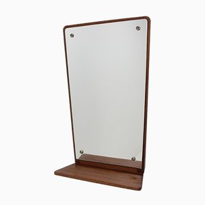 Mid-Century Teak Wall Mirror with Shelf from Jansen Spejle, 1960s