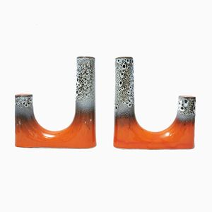 Keramik Kerzenständer, 1960er, 2er Set