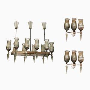 Lámpara de araña vintage y dos apliques de Veronese