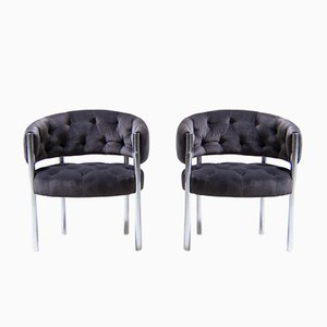 Lobby Chairs in Grey Velvet by Trix & Robert Haussmann for Dietiker, 1983, Set of 2