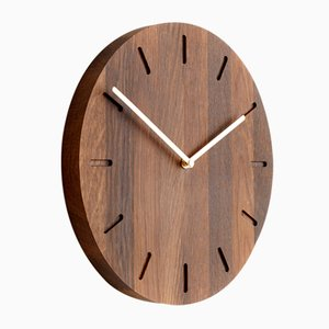 Smoked Oak Watch:Out Clock with Brass Hands from Applicata