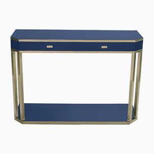 Lacquered Blue & Brass Console by J.C. Mahey for Maison Roméo, 1970s