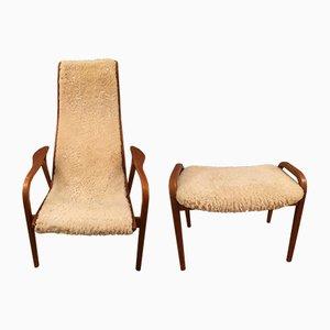 Teak & Lambskin Lounge Chair and Ottoman by Yngve Ekström for Swedese, 1950s