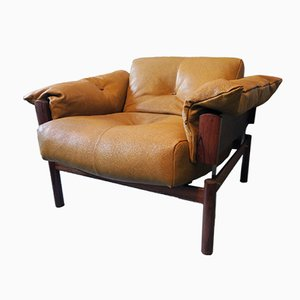Model MP-13 Brazilian Rosewood & Leather Lounge Chair by Percival Lafer, 1960s