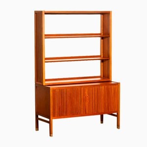 Teak Wall Unit with Tambour Doors & Bookshelf by Carl-Axel Acking for Bodafors, 1960s
