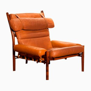 Inca Lounge Chair in Cognac Leather by Arne Norell for Norell Möbler AB
