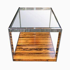 Tavolino in metallo cromato e vetro di Merrow Associates, 1975