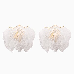Murano Glass Leaf Sconces by Novaresi, Set of 2