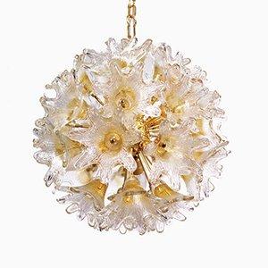 Lámpara de araña con flores en forma de sol de latón y cristal de Murano de Venini para VeArt Italy, años 60