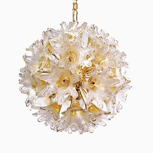 Murano Glass & Brass Sunburst Flower Chandelier by Venini for VeArt Italy, 1960s