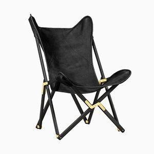 Schwarzer Telami Tripolina Leder Stuhl von Telami