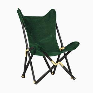 Sedia Tripolina in pelle verde di Telami