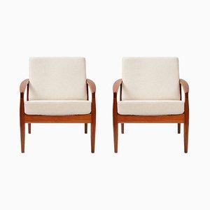 Model 121 Paper Knife Lounge Chairs by Kai Kristiansen for Magnus Olesen, 1950s, Set of 2