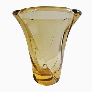 Jarrón grande de vidrio de Jean Daum, años 50