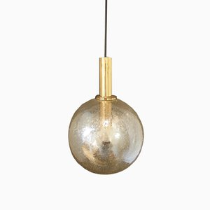Vintage Amber Glass Ball Pendant Lamp with Brass Details