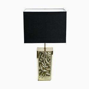 Lámpara de mesa grande de bronce de Lova Creation, años 70