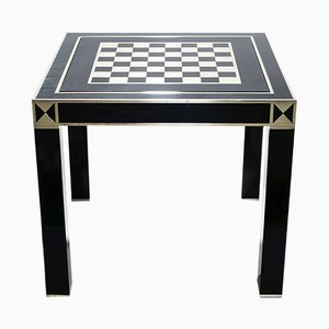 Black Lacquered & Brass Game Table by Jean Claude Mahey for Maison Roméo, 1970s
