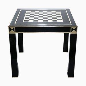 Mesa de juegos de latón lacada en negro de Jean Claude Mahey para Maison Roméo, años 70