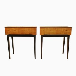 Vintage Wooden Bedside Tables from UP Zavody, Set of 2