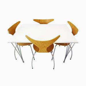 Table de Salle à Manger Vintage et 4 Chaises Danform par Piet Hein, Arne Jacobsen & Bruno Mathsson pour Fritz Hansen