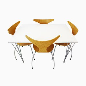 Vintage Dining Table by Piet Hein, Arne Jacobsen & Bruno Mathsson for Fritz Hansen and 4 Danform Chairs