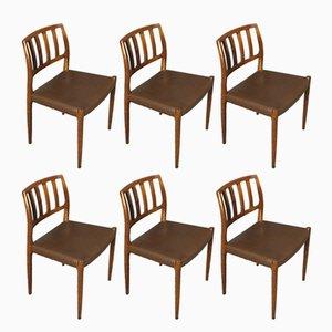 Chaises de Salle à Manger Modèle 83 en Palissandre par Niels Otto Møller, 1960s, Set de 6