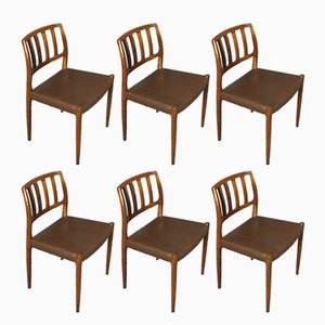 Model 83 Rosewood Dining Chairs by Niels Otto Møller, 1960s, Set of 6
