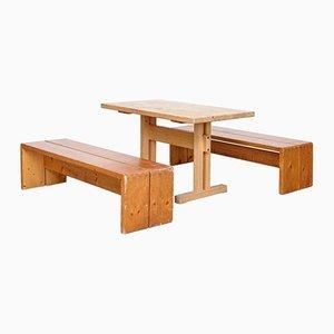 Vintage Les Arcs Tisch & 2 Bänke von Charlotte Perriand