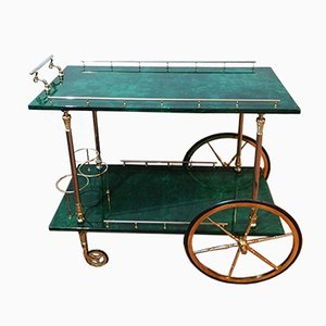 Italian Green Carriage with Goat Skin from Aldo Tura, 1950s
