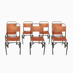 Mid-Century Chairs in Metal & Leather, Set of 8