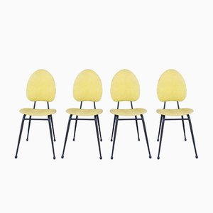 Mid-Century Black Metal & Yellow Skai Chairs by Jacques Hitier, Set of 4