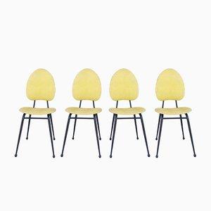 Mid-Century Stühle aus schwarzem Metall & gelbem Skai von Jacques Hitier, 4er Set