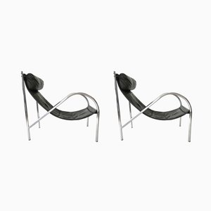 Minimalistische Leder Sessel, 1970er, 2er Set