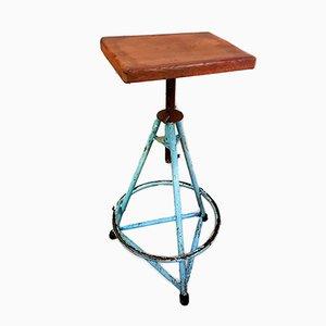 Vintage Blue Tripod Machinist's Stool