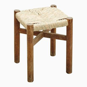 Vintage Meribel Wood & Rattan Stool by Charlotte Perriand