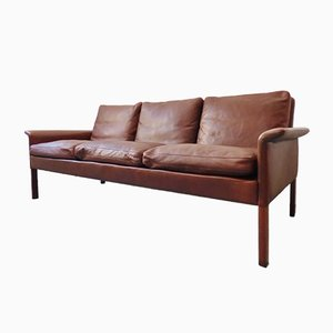 Model 500 3-Seater Leather & Rosewood Sofa by Hans Olsen for Skipper, 1960s