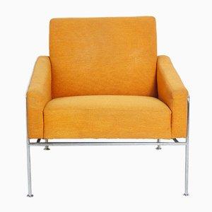 Armlehnstuhl mit Metallgestell & Stoffbezug von Arne Jacobsen für Fritz Hansen