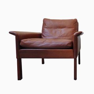 Brauner Modell 500 Leder & Palisander Armlehnstuhl von Hans Olsen für Skipper, 1960er