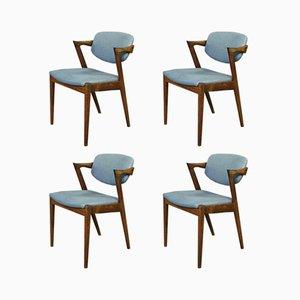 Sedie da pranzo modello 42 in palissandro di Kai Kristiansen per Schou Andersen, anni '60, set di 4