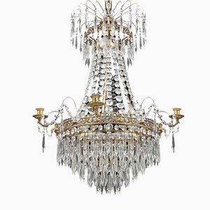 Antique Swedish Prism Chandelier, 1900s
