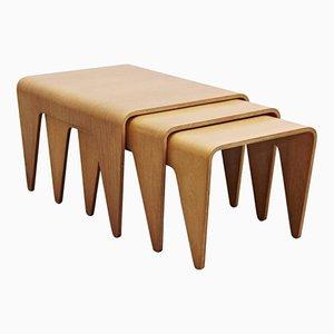 Tavolini ad incastro in compensato di faggio di Marcel Breuer per Isokon, anni '30