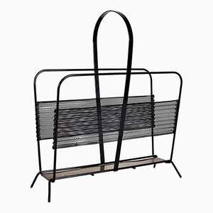 Harpers Brass & Black Metal Magazine Rack by Mathieu Matégot for Ateliers Matégot, 1950s