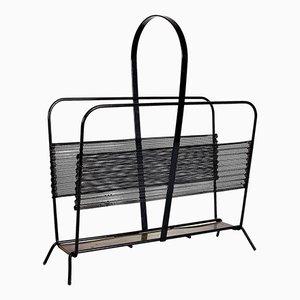 Revistero Harpers de metal negro y latón de Mathieu Matégot para Ateliers Matégot, años 50
