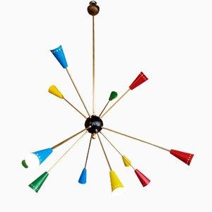 Lámpara de araña Sputnik vintage de 12 brazos de Stilnovo