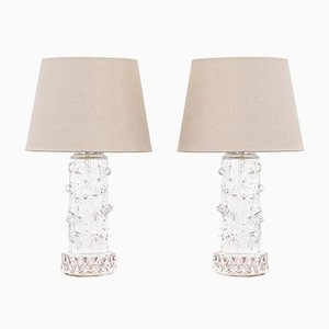 Mid-Century Scandinavian Glass Table Lamps, Set of 2