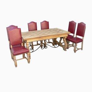 Ausziehbarer Regency Esstisch & 6 Eichenholz Stühle, 1950er