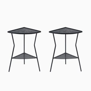 Enameled Iron and Rigitule Side Tables, Set of 2
