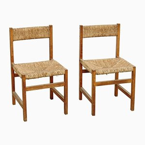 Spanische Rattan Stühle, 1950er, 2er Set