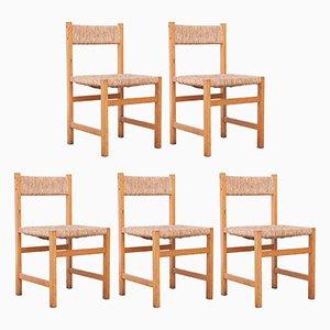 Spanische Rattan Stühle im formalistischen Stil, 1950er, 5er Set